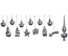 Brauns-Heitmann 83099 - Set di 13 mini decorazioni per albero di Natale, inclusi 3 puntali (3,5 - 14,5 cm), colore argento