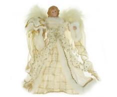 WeRChristmas - Puntale per albero di Natale, a forma di angelo, 30 cm, colore: oro/panna