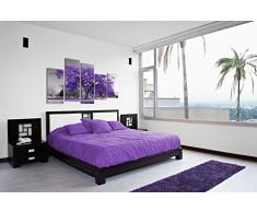 DekoArte 26 - Quadro di paesaggio moderno, tela a 5 pezzi, 150 x 100 cm, albero viola scuro con sfondo di colore bianco e nero