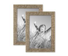 Set da 2 cornici per foto 21x30 cm sabbia rustico rovere naturale in legno massiccio con lastra in vetro e accessori inclusi / cornici per foto