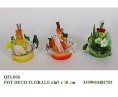 Idea bomboniera pasquale: set 6 vasetti con fiori e coniglietto pasquale; colori assortiti; diametro cm 7 h10
