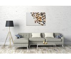 Immagini di alimenti Pani di pino di cuore stellati di Natale, 120x80 cm, Stampa su tela incorniciata su telaio in legno genuino e pronto per appendere, stampa di alta qualità prodotto in Germania.