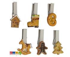 Set 5 pz Mini Mollette Chiudi Pacco Natalizie da 4,5 cm con Albero di Natale in Resina Applicato - Natale Pinze Segna Posto Biscotto