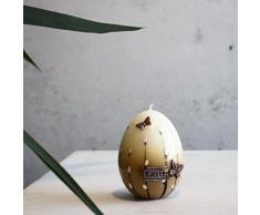 UOVO DI PASQUA 90 X 70 mm Easter I Bianco Marrone Pasqua candela