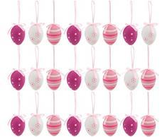 BRUBAKER Set di 24 Uova di pasqua - rosa - decorazioni pasquali da appendered