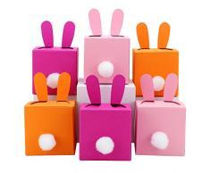 Papierdrachen 6 DIY Scatole coniglietti di Pasqua fai da te da riempire - un regalo che viene dal cuore - a Pasqua - 6 scatole colorate - Scatole per decorazione