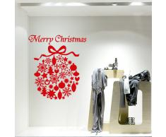 NT0017 Adesivi Murali - Pallina oggetti - Vetrofanie natalizie - 60x70 cm - Rosso - Decorazioni vetrine per Natale, stickers, adesivi
