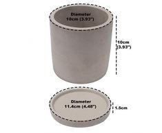 Vasi per Piante Grasse (Set da 2) - Vaso Cemento Grigio non Smaltato (10x10cm) con Piattino Rimovibile (11,4x1,5cm) - Vasetti per Piantine, Piante Grasse, Cactus o Erbe e Spezie per la tua Cucina