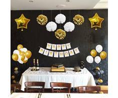BELLE VOUS 33 Pezzi Feste di Compleanno Decorazioni Oro e Bianco - Compleanno Addobbi Accessori PON PON, Palloncini in Lattice e Foil e Striscioni per Compleanno e Feste
