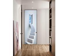 FLFK 30.3x78.7 3D Scale a spirale bianche Autoadesiva Adesivo per porta Murale Foto Adesivo da parete decalcomania Casa arredamento