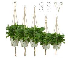 KissDate - Confezione da 5 portavasi da appendere in corda di iuta, a 4 bracci, per vasi di fiori e piante, decorazioni per interni ed esterni,1 pezzo da 120 cm, 2 pezzi da 105 cm, 2 pezzi da 90 cm