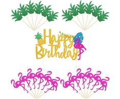 25 Pezzi Ananas Topper per Torte Topper per Cupcake Fenicottero Buon Compleanno per Luau Hawaiano Decorazioni per Feste Estive Tropicali Stile Set 2