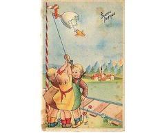 CARTOLINA 15086 cartolina tematica Auguri Buona Pasqua bambine 1950