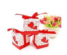 JZK 50 Rosso cuore scatola portaconfetti scatolina portariso bomboniera segnaposto per matrimonio compleanno battesimo Natale nascita laurea