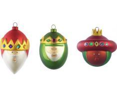 Alessi, Gaspare, Melchiorre, Baldassarre, set di 3 palline per albero di Natale in vetro, decorate a mano, Multicolore (Mehrfarbig)