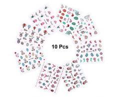 BESTOYARD 10pcs Decalcomanie del chiodo di Pasqua 3D Adesivi per Unghie Glitter Polvere Decalcomanie per la Decorazione della Festa di Pasqua (Stile Casuale)