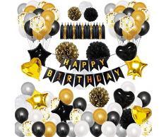 TOPWINRR Decorazioni Festa Compleanno Bambino Palloncini Feste Compleanno Bambini Ghirlanda Buon Compleanno Happy Birthday Oro Nero Grigio