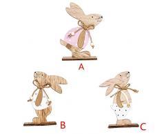 YOUNICER 1PC Coniglio in Legno Decorazione Coniglietto di Pasqua Decorazione Decorazioni per la casa Coniglietto per Soggiorno Moderno