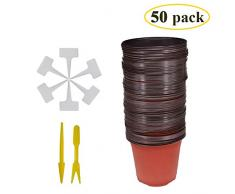 Huvai 50 pz 15,2 cm plastica vasi di piante piantine nursery con 50 pz impermeabile plastica pianta t-tipo tag e 2PCS/set trapianto scavare mini Tools