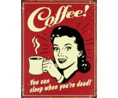 Poster di latta Tin Sign Coffee - Sleep When Dead
