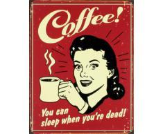 Poster di latta Tin Sign Coffee - Sleep When Dead