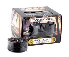 Yankee Candle Tea Light Candele Profumate Black Coconut 12 Pezzi, Cera, Porpora, 8.7 x 8.8 x 6.3 cm