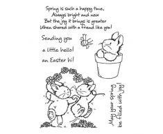 WT-DDJJK Timbro con Sigillo di Cartone Animato, Timbro con Sigillo Trasparente in Silicone Coniglietto di Pasqua di Primavera Fai da Te timbri di Scrapbooking Decor