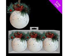 TOYLAND Pack di palline con glitter bianco 3-9,5 cm con design Bird & Berry - Decorazioni natalizie di lusso