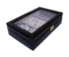 Portagioie valigetta bacheca con coperchio in vetro Nr: 121034