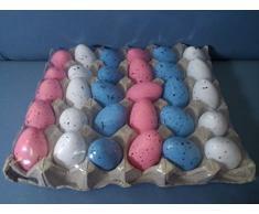30 uova colorate Pasqua decoupage Rosa, Azzurro, Bianco con contenitore