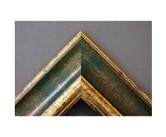 Artecentro Cornice Dorata per Quadri - Oro/Colore con o Senza passepartout in Legno-Varie Misure (Oro/Verde, 50 x 60)