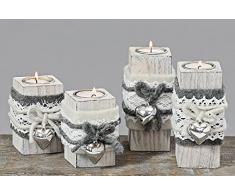 Set Di 2 Portacandele Candeliere Off-White - H14Cm