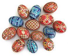Confezione da 2 decorazioni casa, decorazione uova di Pasqua, finitura liscia 2D, Real Duck a forma di conchiglia, dipinto a mano, in legno di faggio supporti inclusi