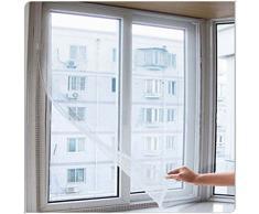 CHIC*MALL - Zanzariera per porte e finestre con nastro Velcro adesivo, colore: Bianco