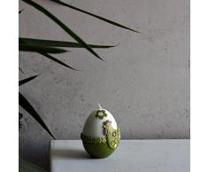 Piccolo Uovo 90 X 70 mm Pasqua candela bianco verde