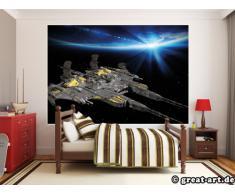 Navicella spaziale Fotomurale- Space Battleship nave da guerra spaziale tappezzeria da parete- quadro-astronave spazio decorazione da parete by GREAT ART (210 x 140 cm)