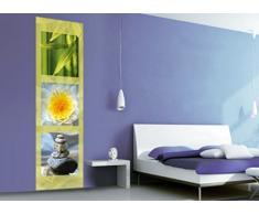 Motivazione - Trittico Zen, bambù, Fiore di Loto E Pietre in Equilibrio Carta da Parati Adesiva (240 x 75cm)