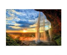 GREAT ART XXL Poster − Cascata − Tramonto all'Orizzonte Natura Paesaggio Romantico Fiume Rocca Relax Poster da Parete Fotomurales Decorazione da Parete 140 x 100 cm