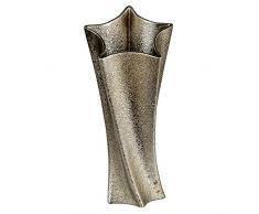 Formano - Vaso Decorativo a Forma di Stella, in Ceramica, Altezza 45 cm, 1 Pezzo, Oro Anticato