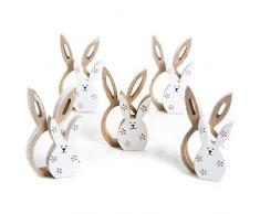 Logbuch-Verlag 5 Doppi Coniglietti di Legno Pasquale Coniglietto Naturale Marrone Bianco Fiori Pasqua Decorazione Primaverile Statuetta Pasqua Regalo Decorazione Tavolo 10 cm