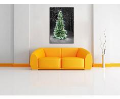 Pixxprint Albero di Natale nella Foresta Stampa su Tela 120x80 cm Artistica murale