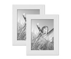 Set da 2 cornici per foto da 15x20 cm bianco moderno in legno massiccio con venature con lastra in vetro e accessori / per appendere o appoggiare su una superficie / cornici per foto