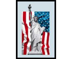 Empire 538727 - Quadro American Legends, Statua della libertà, su vetro stampato con cornice in plastica effetto legno, 20 x 30 cm
