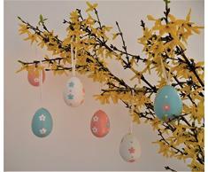 Khevga - Decorazione a forma di uova di Pasqua, colore: bianco, rosa, azzurro
