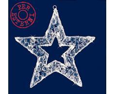 Stella Natale 3D con decori diamond 50LED Bianco Ghiaccio (45LED FISSI+5 LED Flash) RT24773