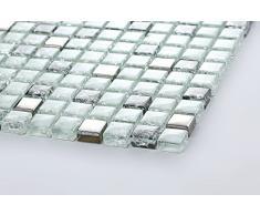 Vetro mosaico piastrelle opaca bianco, nero e argento può guarire e chiara vetro ottica MT0078