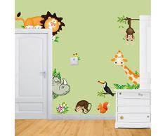 ufengke® Animali Cartoon Scimmie Simpatici Leoni Rinoceronte Giraffa Adesivi Murali, Camera dei Bambini Vivai Adesivi da Parete Removibili/Stickers Murali/Decorazione Murale