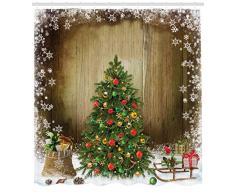 ABAKUHAUS Natale Tenda da Doccia, Presents Pino, Tessuto Set di Decorazioni per Il Bagno con Ganci, 175 x 200 cm, Multicolore