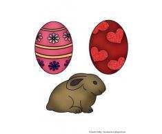 Di coniglio con uova di Pasqua colorate & Janette Padley