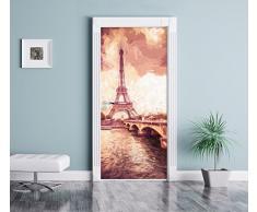 Torre Eiffel a Parigi effetto spazzola di arte come Murale, Formato: 200x90cm, telaio della porta, adesivi porta, porta decorazione, autoadesivi del portello